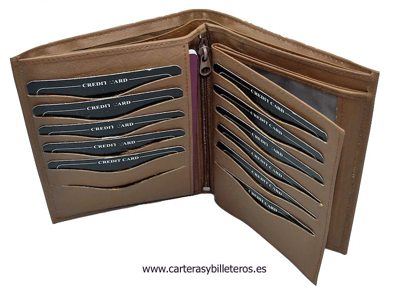 BIG PASSPORT LEATHER PORTFOLIO WITH DOUBLE BILLER