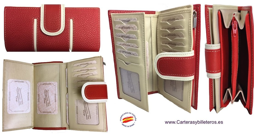 BIG WALLET OF WOMAN LEATHER PURSE MADE IN SPAIN HANDCRAFT LONG
