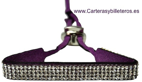 BRACELET LEATHER AND STRASS WITH CLOSE TO METAL ADJUSTABLE