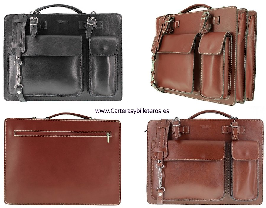 BRIEFCASE LARGE ITALIAN LEATHER SHEETS WITH DEPARTMENTS