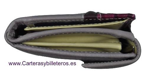 CARTERA BILLETERA DE MUJER CALIDAD LUXURY CON PIEL VACUNO Y SERPIENTE