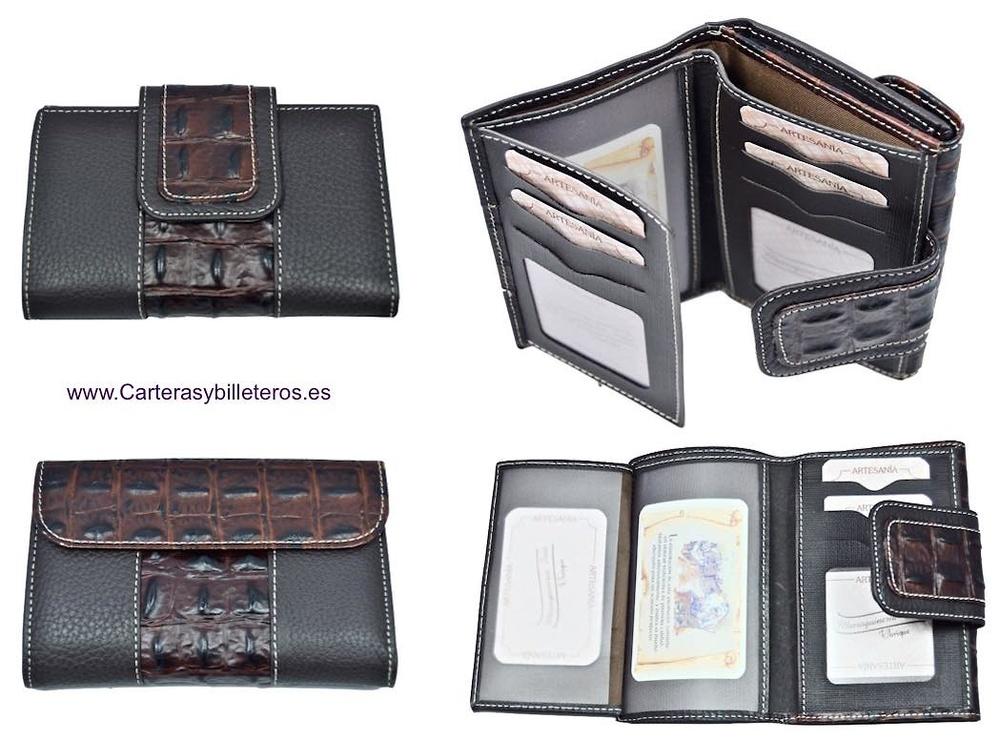 f9579c96b cartera mujer con billetera de piel cocodrilo hecho en ubrique