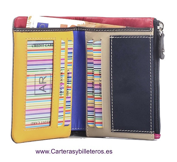 CARTERA MONEDERO DE PIEL BLANDA MULTICOLOR
