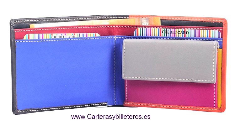 CARTERA PIEL UNISEX MULTICOLOR SUPERCÓMODA