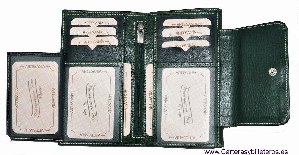 LARGUE WALLET WOMEN'S WITH A LEATHER BOW WITH TIE MADE IN SPAIN