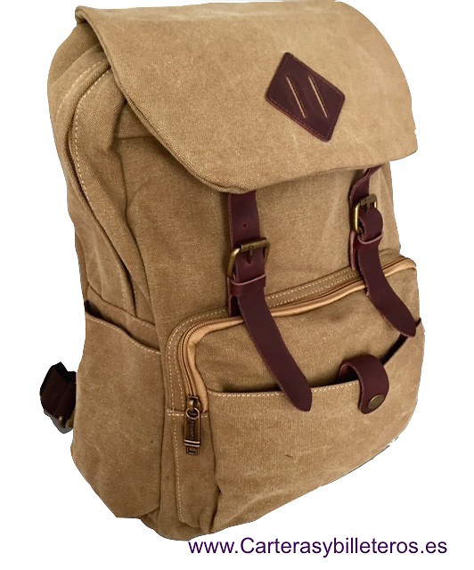 LEATHER BACKPACK AND CANVAS EXTRAFUERTE WITH WING AND DOUBLE CLOSURE