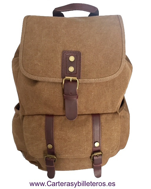 LEATHER BACKPACK AND EXTRA STRONG CANVAS WITH WING