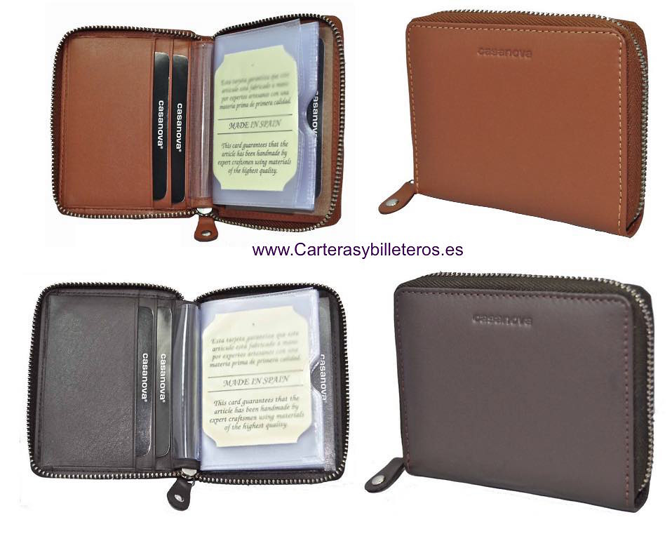 LEATHER CARD FOLDER LOCKING ZIPPER FOR 14 CREDIT CARDS