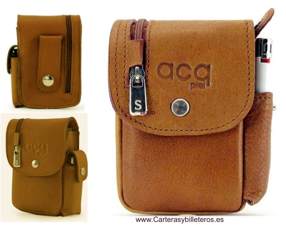 LEATHER CIGARETTE CASE WITH WALLET AND LIGHTER