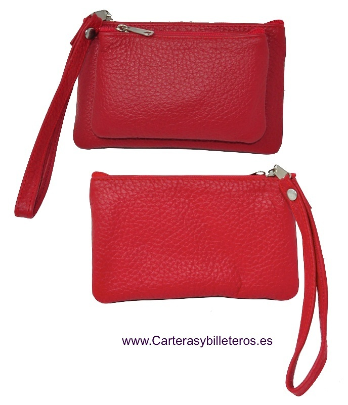 LEATHER PURSE WITH DOUBLE HANDLE FOR HAND
