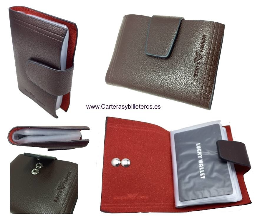 BROWN CARD HOLDERS OF A LOT OF CAPACITY WITH DOUBLE CLOSURE