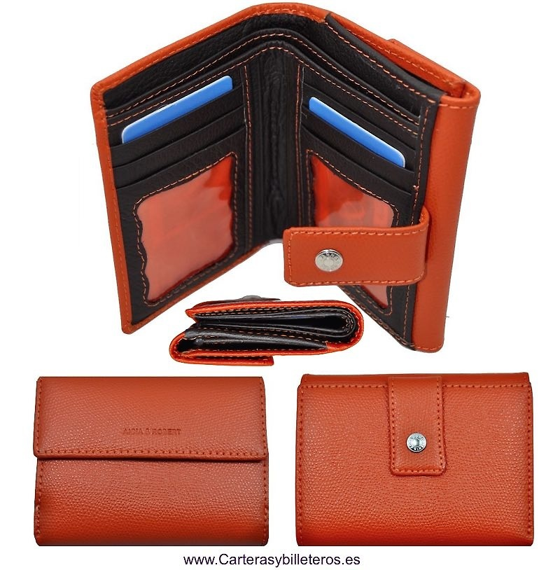 LEATHER WALLET PURSE WALLET WOMAN WITH DOUBLE.