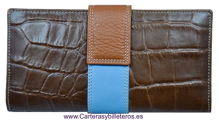LONG WALLET OF WOMAN SKIN OF COCO MADE IN SPAIN HANDCRAFT