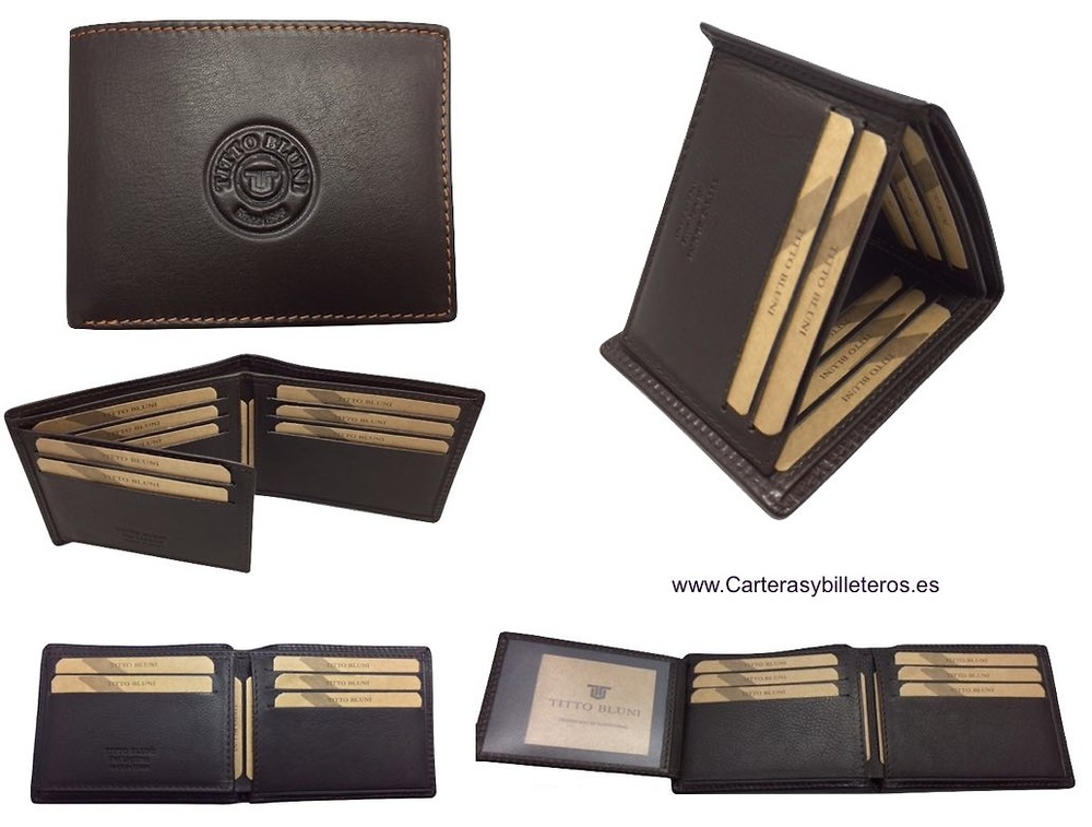 MAN CARDFOLDER BRAND BLUNI TITTO MAKE LUXURY LEATHER MADE IN SPAIN