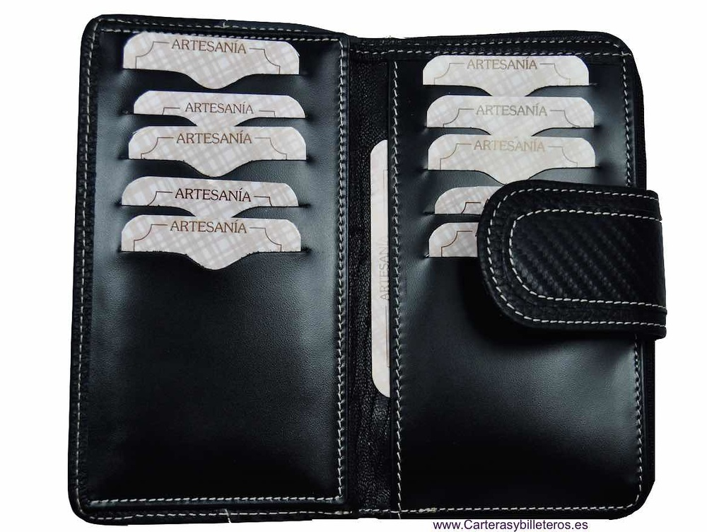 MEDIUM WOMEN'S LEATHER AND CARBON FIBER WALLET