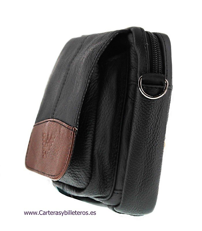 MEN'S SHOULDER LEATHER AND SMALL WAIST BAG