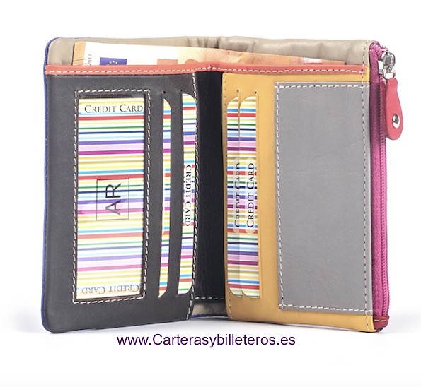 MULTICOLOR SOFT LEATHER PURSE WALLET