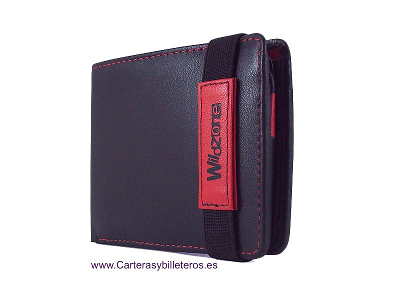 NAPA LEATHER MEN'S CASE WITH ELASTIC CLOSURE AND PURSE