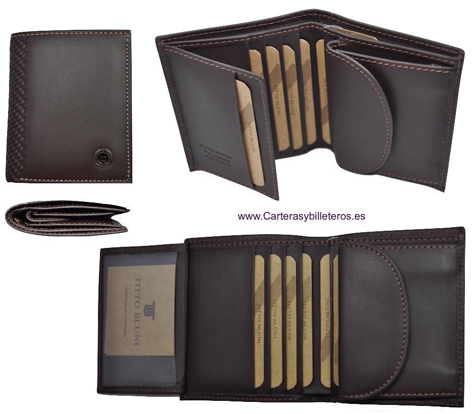 Portefeuille homme titto bluni cuir de luxe avec monnaie for Portefeuille homme