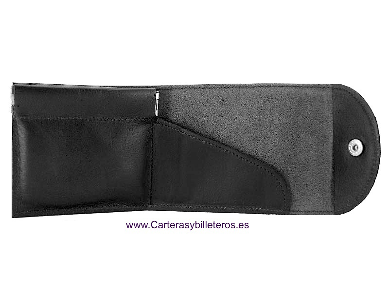 PURSE WALLET WITH LEATHER CLOSURE
