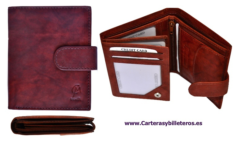 WALLET OF MAN MADE LEATHER STRAP CLOSURE