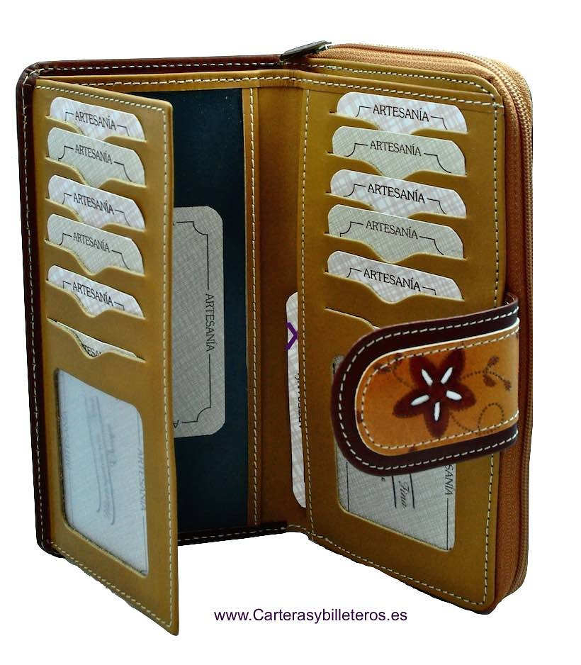 WALLET OF WOMAN LEATHER MADE IN SPAIN HANDCRAFT LONG