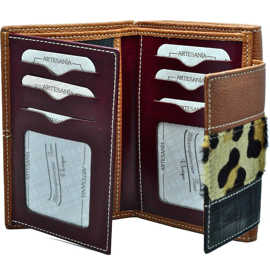 WALLET WOMEN'S LEATHER WITH LEOPARD MADE IN SPAIN