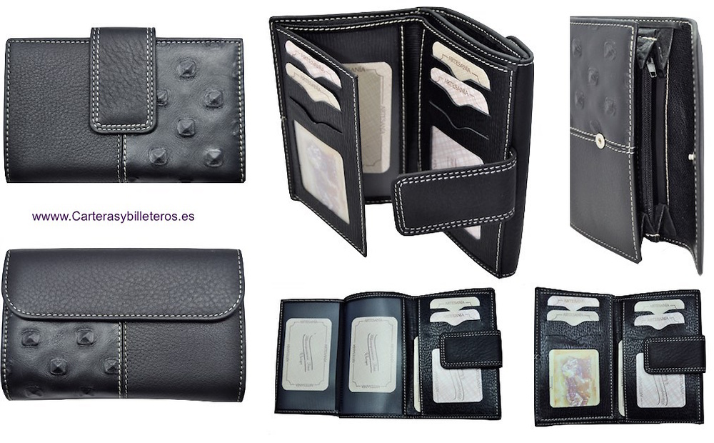 WOMEN'S BLACK THREE LEATHER WALLET MANUFACTURED IN SPAIN