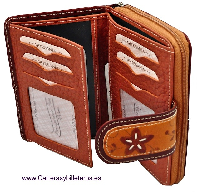 WOMEN'S LEATHER WALLET WITH ZIPPER PURSE MADE IN SPAIN