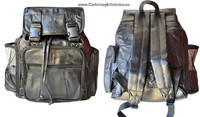 BACKPACK LARGE LEATHER BAGS WITH FIVE EXTERIOR POCKETS