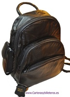 BACKPACK THREE POCKETS LEATHER  MEDIUM
