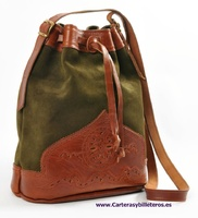 BAG MADE OF LEATHER AND SUEDE