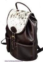 BIG LEATHER BACKPACK WITH AUTHENTIC COW HAIR ON THE CLOSING COVER MADE IN SPAIN