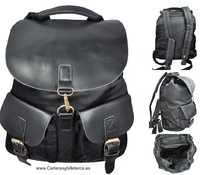 BLACK BACKPACK OF MICROFIBRE AND PU ITALIAN DESIGN