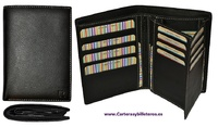 BUSINESS CARD HOLDER WALLET MADE IN BOVINE LEATHER QUALITY OF LARGE CAPACITY
