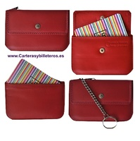 CARD OF LUXURY LEATHER PURSE WITH KEY CHAIN