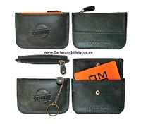 CARD OF PREMIUM LEATHER PURSE WITH KEY CHAIN