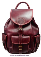 COW LEATHER BACKPACK MEDIUM SIZE CHERRY COLOR