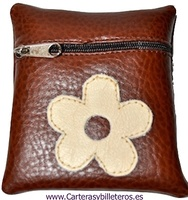 ECONOMIC IMITATION LEATHER FLOWER PURSE WITH ZIP