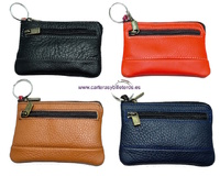KEY PURSE LEATHER WITH POCKET MADE IN SPAIN