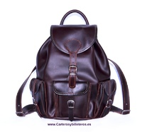 LEATHER BACKPACK WITH FOUR POCKETS SIZE BIG