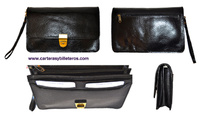 LEATHER BAG BLACK MAN TO WEAR ON HAND