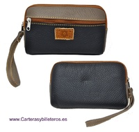 LEATHER HANDBAG PURSE WITH WRIST STRAP AND POCKET