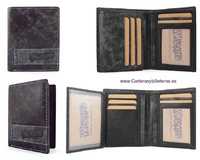 LEATHER MAN CARD HOLDER AND WALLET WITH A WEAR EFFECT