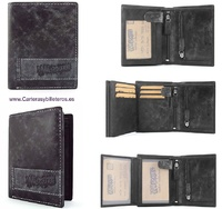 LEATHER MAN  WALLET AND PURSE WITH A WEAR EFFECT