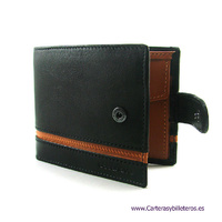 LEATHER MEN'S WALLET WITH PURSE AND EXTERIOR CLOSURE
