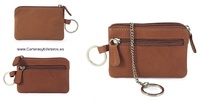 LEATHER PURSE WITH DOUBLE RING KEYCHAIN WITH CHAIN -5 COLORS-
