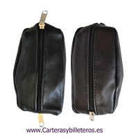 LEATHER PURSE WITH DOUBLE ZIP