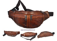 LEATHER WAIST BAG WITH FOUR POCKETS