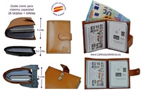LEATHER WALLET CARD HOLDER 26 CARDS CUBILO BRAND